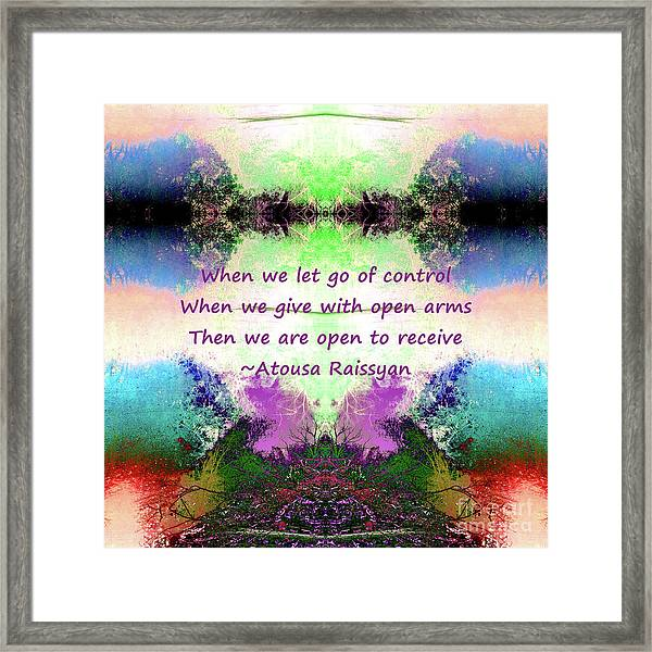 Framed Print featuring the digital art Let Go Of Control by Atousa Raissyan