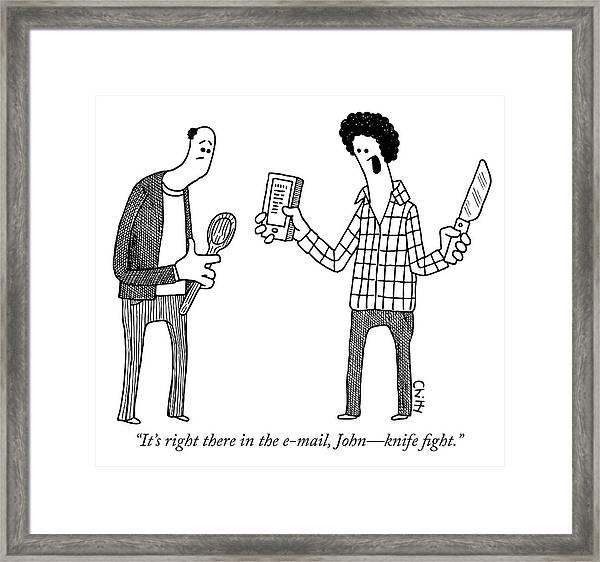 Knife Fight Framed Print