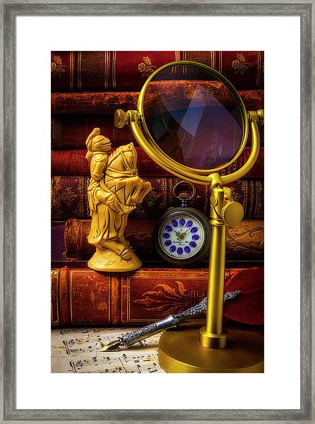 Knight And Books Framed Print