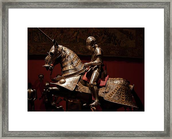 Knight And Horse In Armor Framed Print