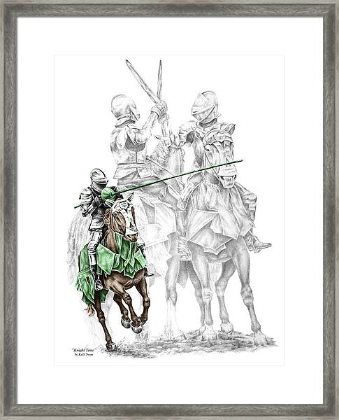 Knight Time - Renaissance Medieval Print Color Tinted Framed Print