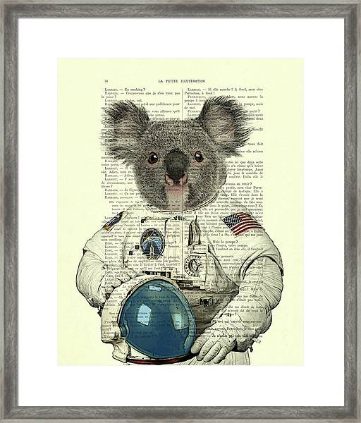 Koala In Space Illustration Framed Print
