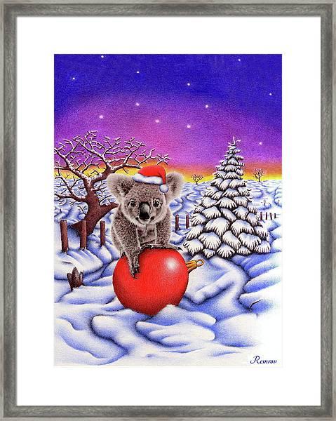 Koala On Christmas Ball Framed Print