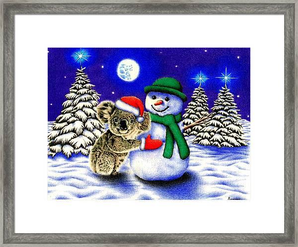 Koala With Snowman Framed Print