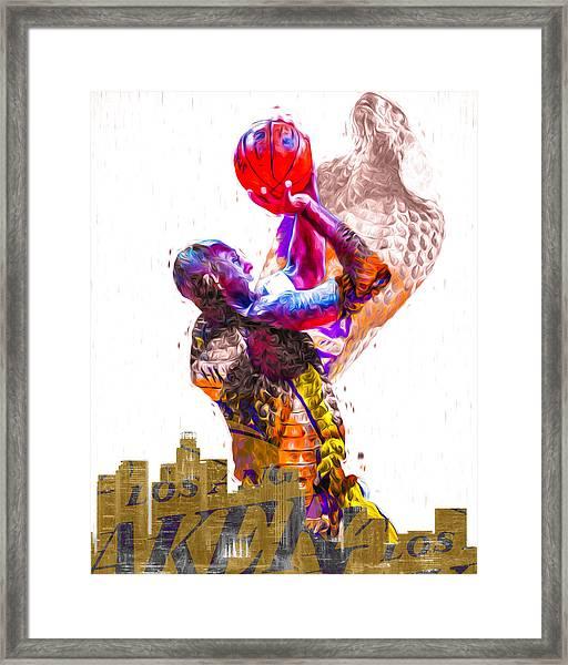 Kobe Bryant Los Angeles Lakers Digital Painting Snake 1 Framed Print