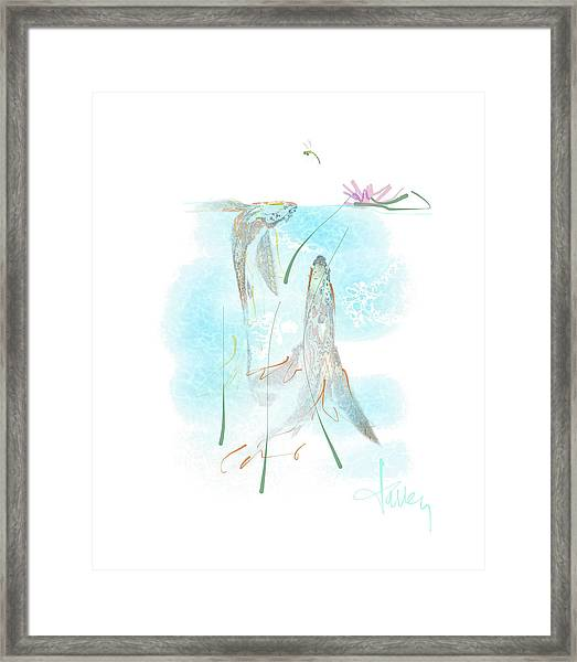 Framed Print featuring the mixed media Koi Pond  by Larry Talley