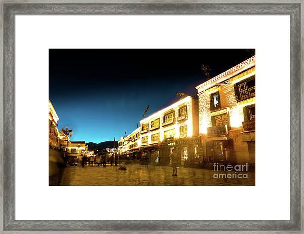 Kora At Night At Jokhang Temple Lhasa Tibet Yantra.lv Framed Print