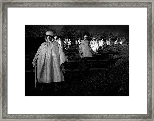 Framed Print featuring the photograph Korean War Memorial by Williams-Cairns Photography LLC