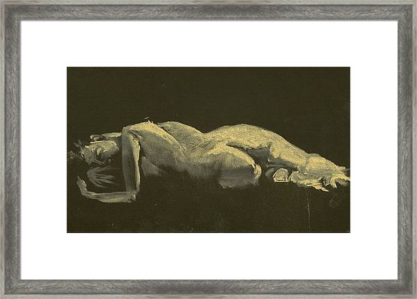 Kroki 2014 09 27_3figure Drawing White Chalk  Framed Print