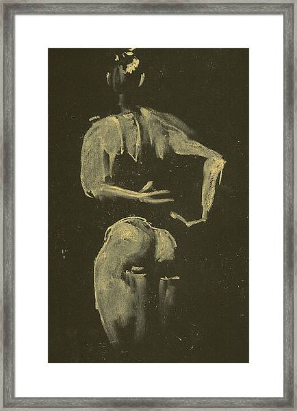kroki 2014 09 27_4 figure drawing white chalk Marica Ohlsson Framed Print
