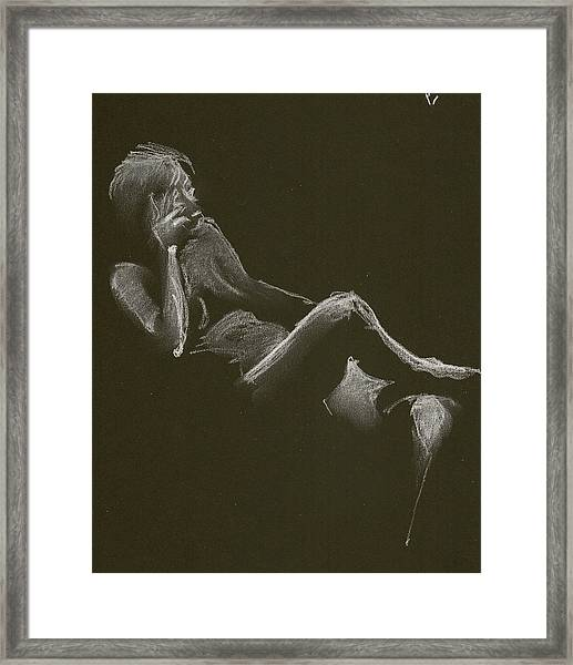 Kroki 2014 12 27_3 Figure Drawing White Chalk Framed Print
