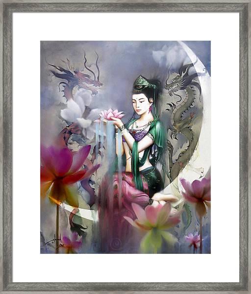 Kuan Yin Lotus Of Healing Framed Print