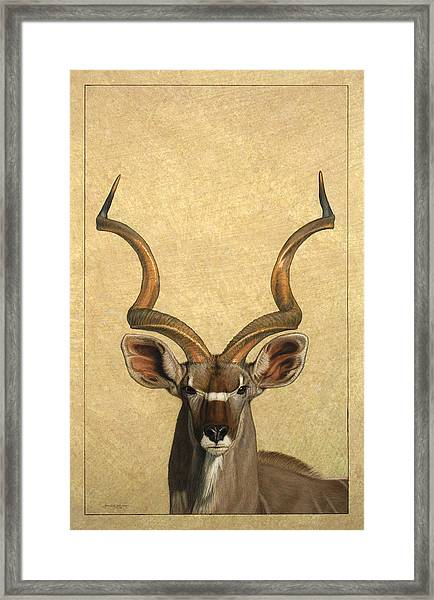 Framed Print featuring the painting Kudu by James W Johnson