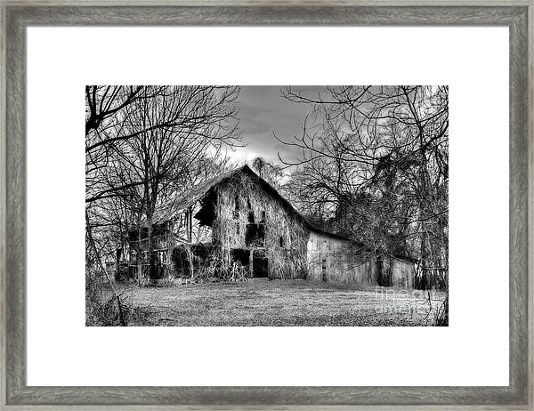 Kudzu Covered Barn In The Mississippi Delta Framed Print