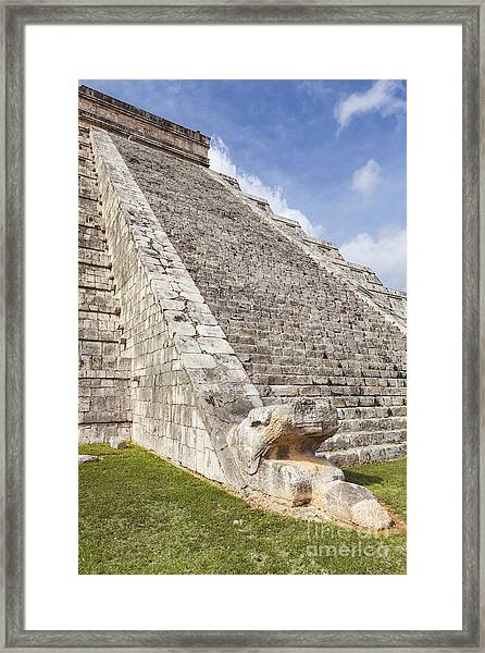 Kukulkan Pyramid At Chichen Itza Framed Print