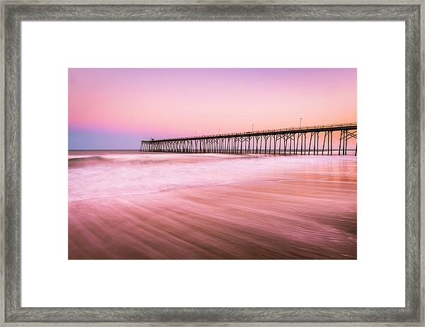 Framed Print featuring the photograph Kure Beach Fishing Pier At Sunset by Ranjay Mitra