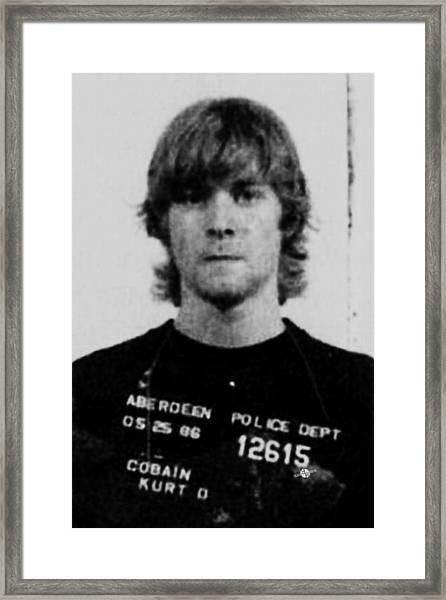 Kurt Cobain Mug Shot Vertical Black And Gray Grey Framed Print
