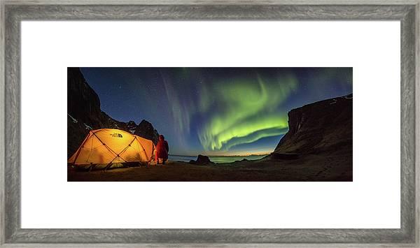 Kvalvika Under The Lights Framed Print
