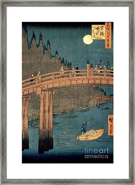 Kyoto Bridge By Moonlight Framed Print