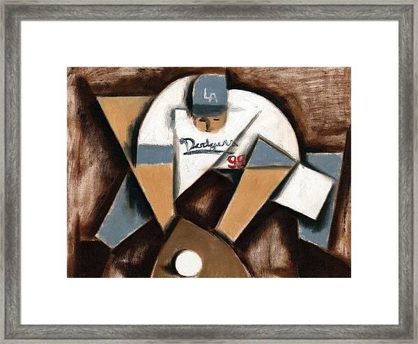La Dodgers Cubism Baseball Shortstop Art Print Framed Print