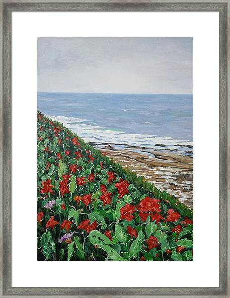 Framed Print featuring the painting La Jolla Beach, San Diego by Ray Khalife