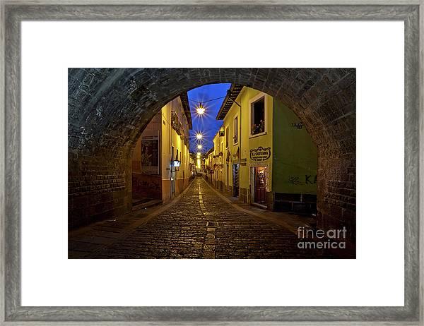 La Ronda Calle In Old Town Quito, Ecuador Framed Print