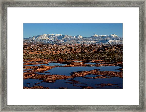 La Sal Mountains And Ephemeral Pools Framed Print
