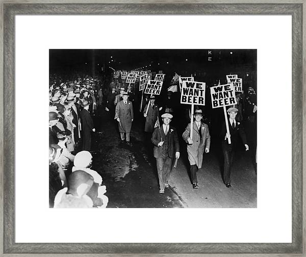 Labor Union Members Protesting Framed Print