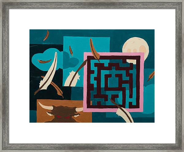 Framed Print featuring the painting Labyrinth Night by Break The Silhouette