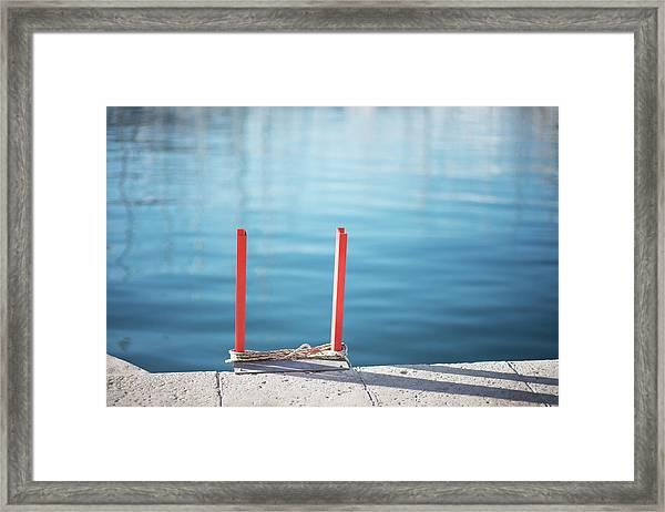 Ladder Into The Blue Framed Print
