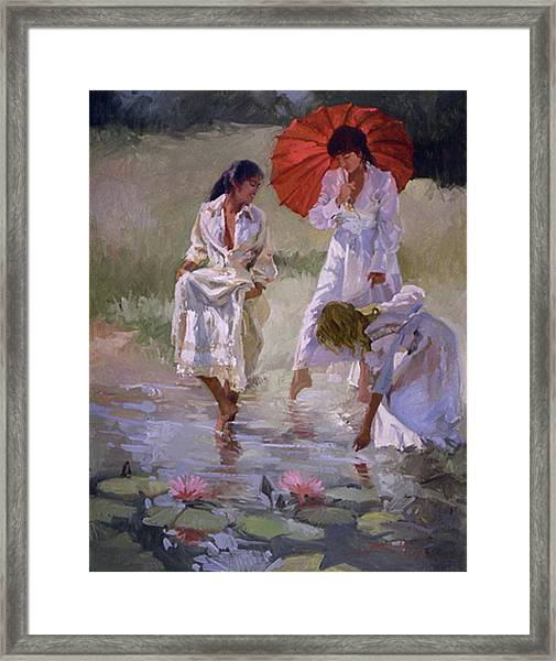 Ladies And Lilies Framed Print