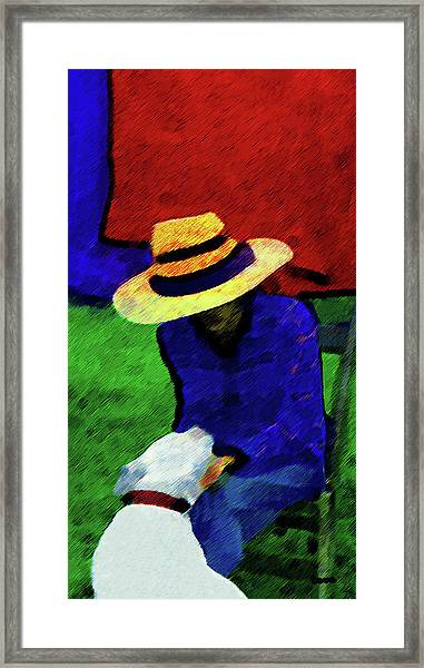 Lady And Puppy Painting Framed Print