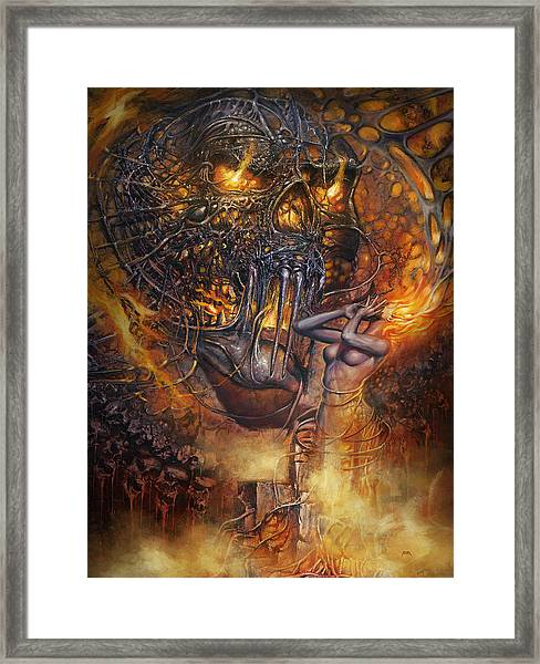 Lady And Skull Framed Print