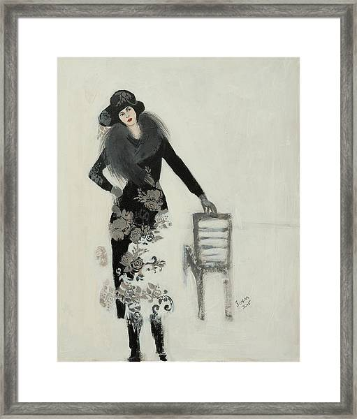 Lady In Black With Flowers Framed Print