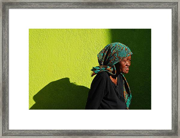 Framed Print featuring the photograph Lady In Green by Skip Hunt