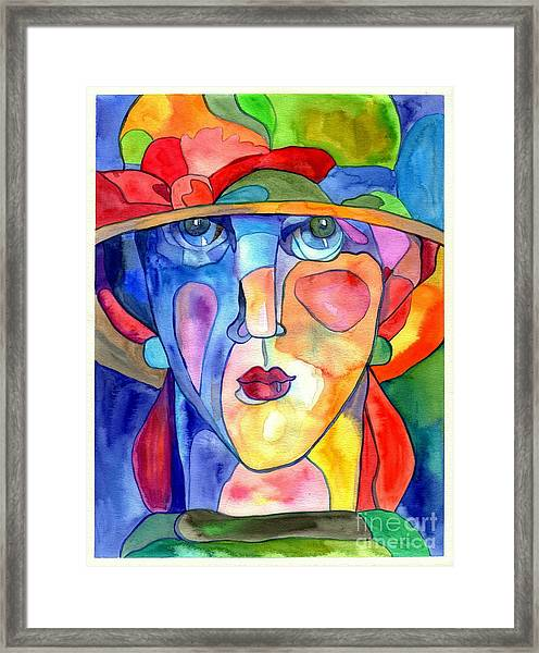 Lady In Hat Watercolor Framed Print