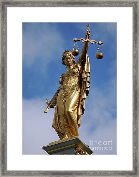 Lady Justice In Bruges Framed Print