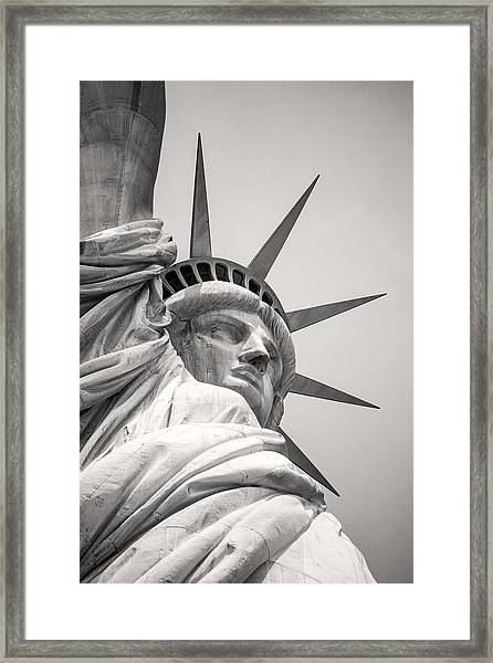 Lady Libety In Black And White Framed Print