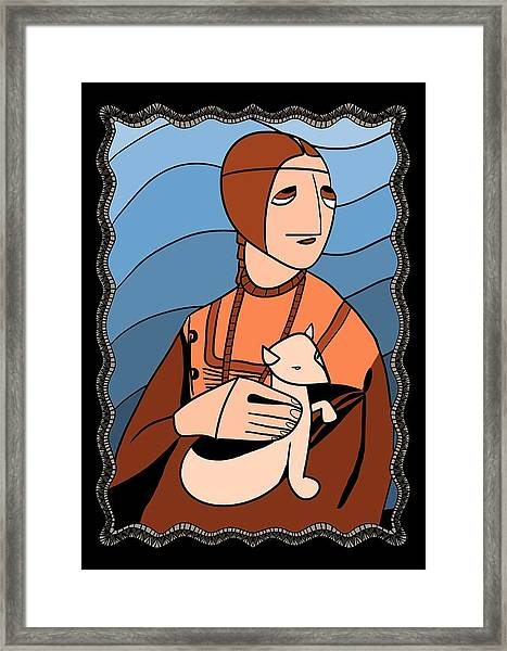Lady With An Ermine By Piotr Framed Print