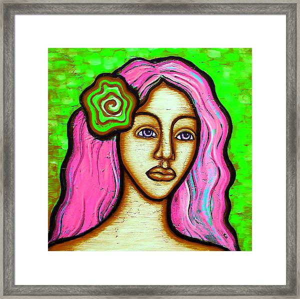 Lady With Green Flower-pink Framed Print by Brenda Higginson