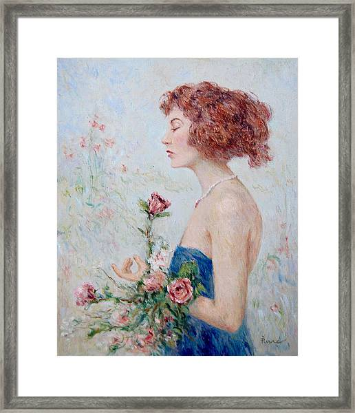 Lady With Roses  Framed Print