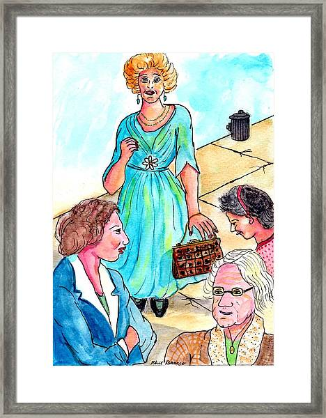 Lady With The Aligator Purse Framed Print