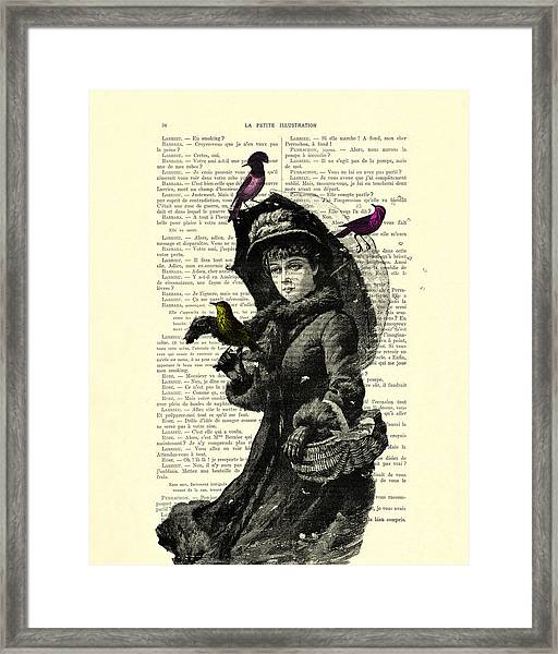 Lady With Umbrella In Winter Landscape Print On Old Book Page Framed Print