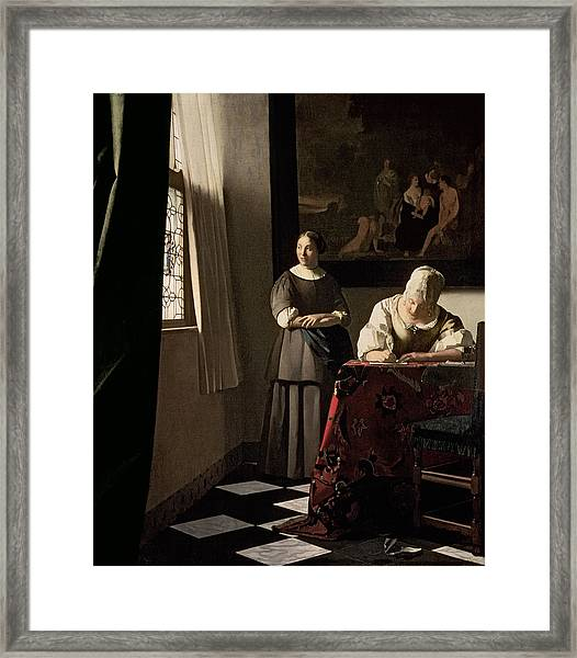 Lady Writing A Letter With Her Maid Framed Print