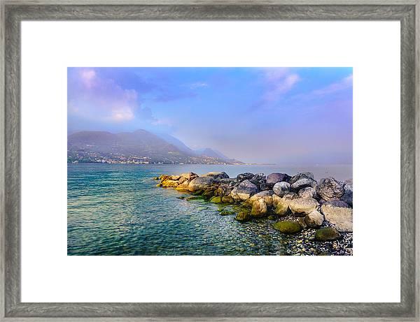 Lago Di Garda. Stones Framed Print
