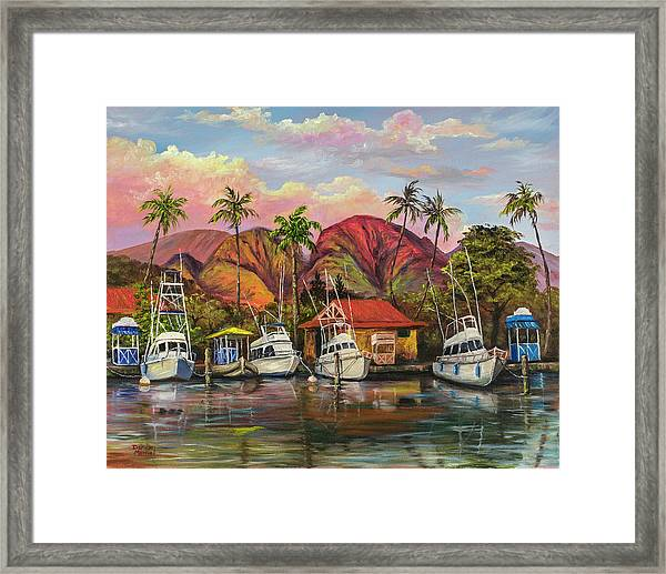 Lahaina Harbor Sunset Framed Print