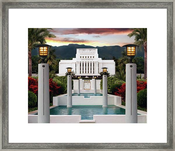 Laie Temple Framed Print by Brent Borup