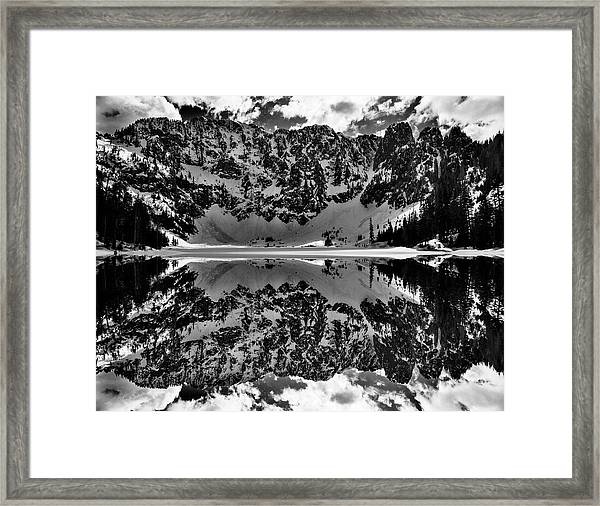 Lake 22 Winter Black And White Reflection Framed Print