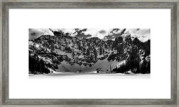 Lake 22 Winter Black And White Framed Print
