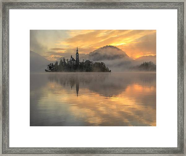 Lake Bled Sunrise Slovenia Framed Print
